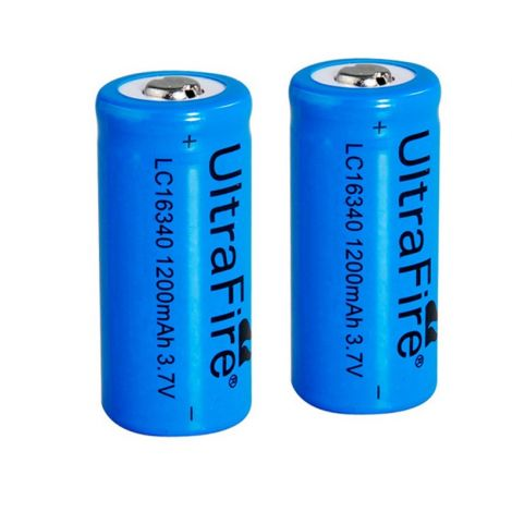 2x Rechargeable 16340 batteries
